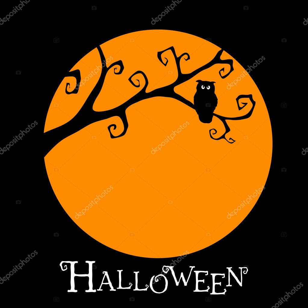 Halloween postcard with owl оn the tree. — Stock Vector #4034827
