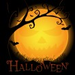 Royalty-Free Stock Vektorgrafik: Halloween postcard with an ominous moon and tree