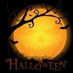 carte postale Halloween avec une lune sinistre et l'arbre — Vecteur