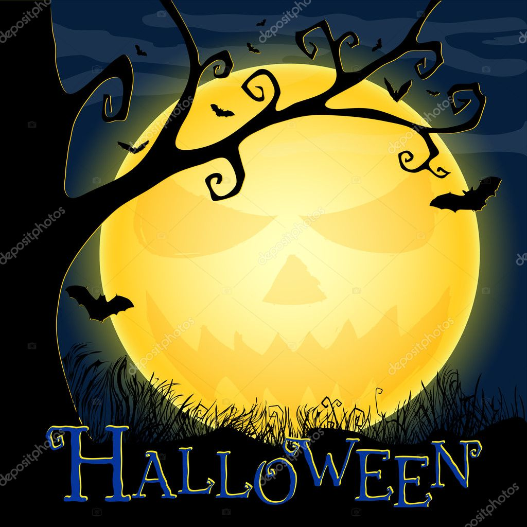 Halloween postcard with an ominous moon, tree and bats. Eps10 — Imagen vectorial #4067256