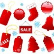 Holiday shopping red tags. — Stock Vector