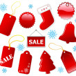 Holiday shopping red tags. — Stockvectorbeeld