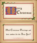 Old Christmas card, congratulations. Two sides. — Stock Vector