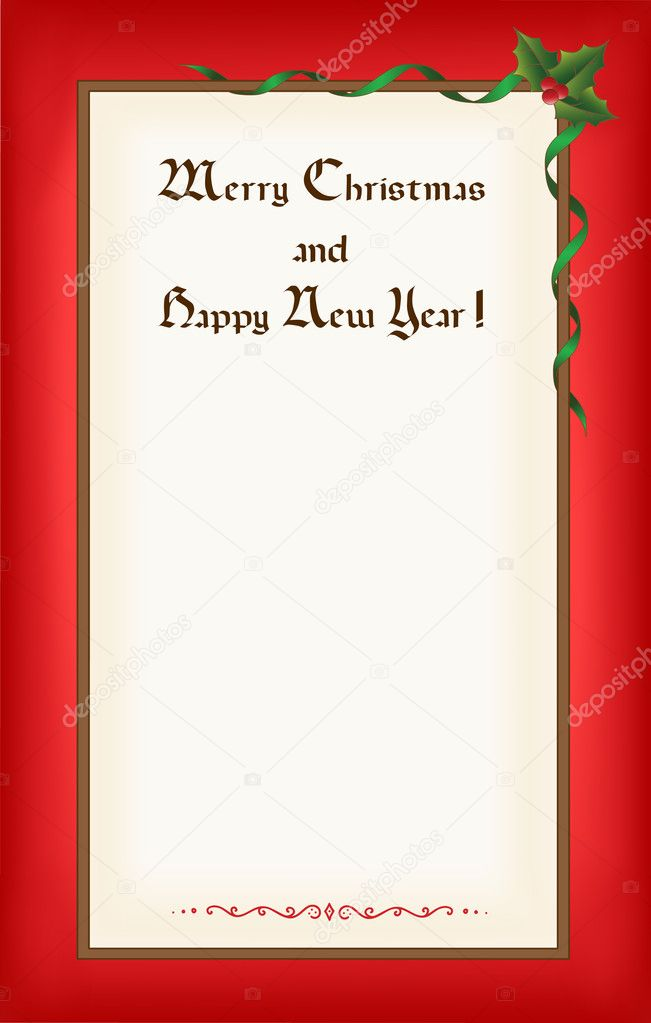 Old Christmas (New Year) blank with frame,  congratulations and space for text. Eps10 — Stock Vector #4440911