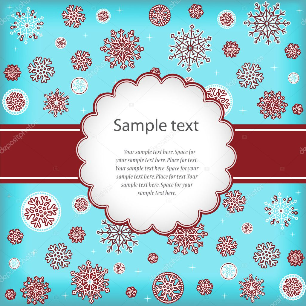 Template design congratulatory Christmas or New Year's card with snowflakes and space for text.  Stock Vector #4545072