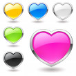 Heart (buttons) multicolor icons set. Valentine — Stock Vector