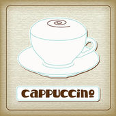 A cup of hot cappuccino in the old cardboard. — Stock Vector