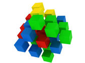 Puzzle cube explosion — Stock Photo