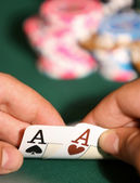Pair of aces in poker game — Stock Photo