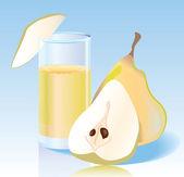 Jugo de pera fresca — Vector de stock