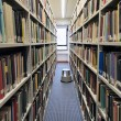 Bookshelves in library — Stock Photo