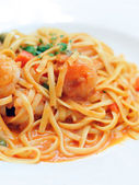 Linguine with Shrimp — Stock Photo
