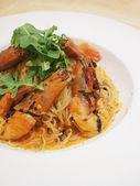 Angel hair pasta with king prawns — Stock Photo