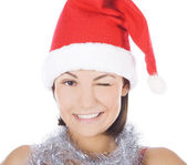 Portrait of beautiful sexy girl wearing santa claus — Stock Photo