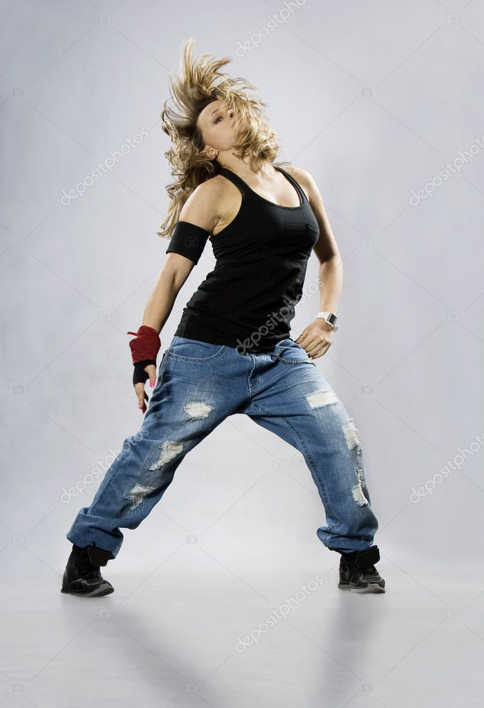 Teenage girl dancing breakdance in action — Stock Photo #4247510