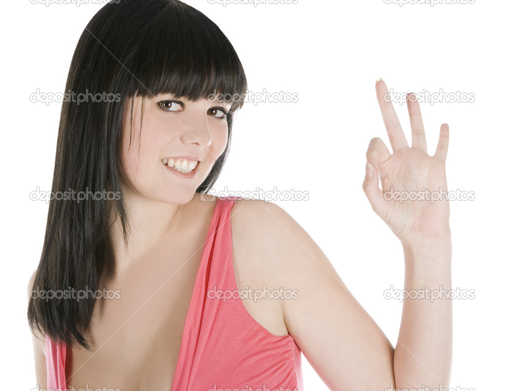 Picture of young brunette showing ok sign over white — Stock Photo #4653857