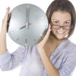 Picture of woman with big clock — Stock Photo