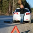 Young woman standing by her damaged car and calling for help — Stock Photo #4016329