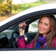 Woman Showing The Key Of Her New Car — Stock Photo #4021820