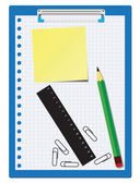 Office supplies over a white background — Stock Vector
