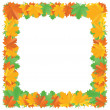 Stock Vector: Fall leaf border