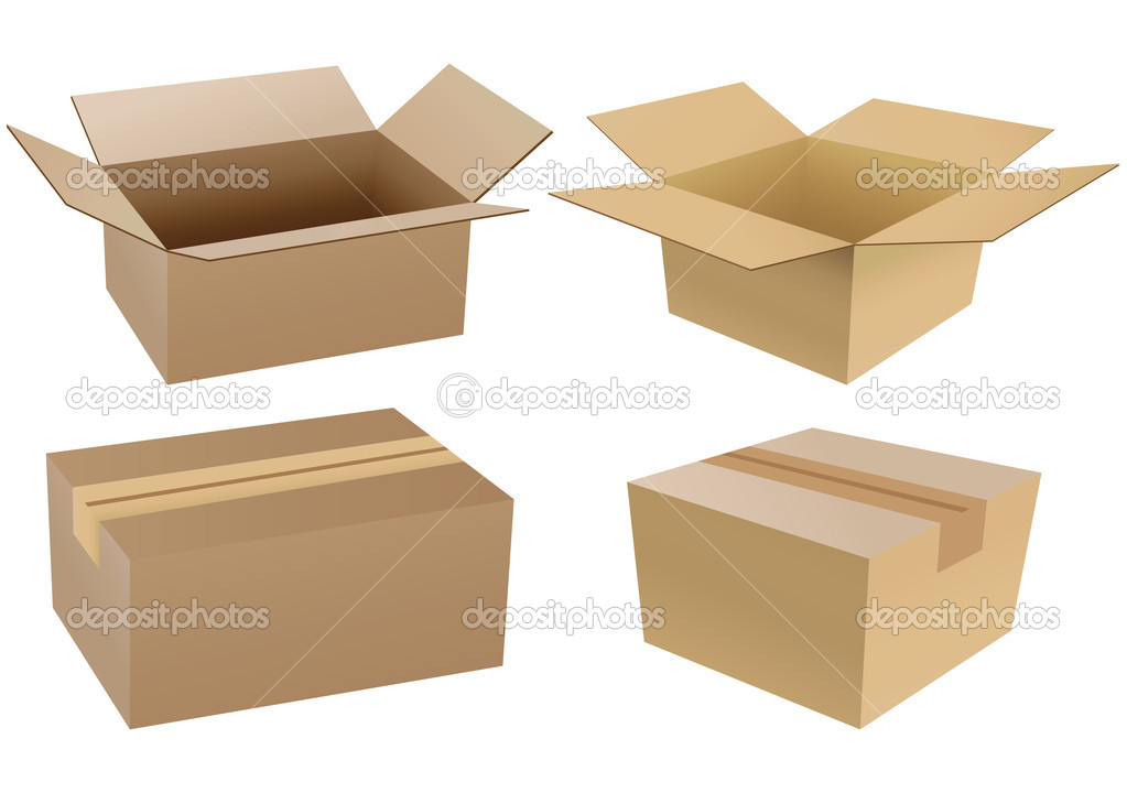 Set of carton boxes isolated over a white background  Stock Vector #4239834