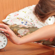 Switch off an alarm clock — Stock Photo