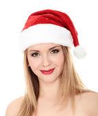 Attractive smiling woman in Santa Cap — Stock Photo