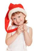 Porträt von hübschen Weihnachten-Mädchen im weißen Kleid und Santa Hut — Stockfoto