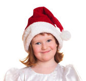 Portrait de la jolie fille de noël en blanc robe et santa hat — Photo