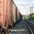 Railway tracks with freight train wagons — Stock Photo