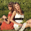 Two beautiful caucasian girls sitting on a meadow - Stock Photo