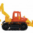 Plastic toy bulldozer - Stock Photo