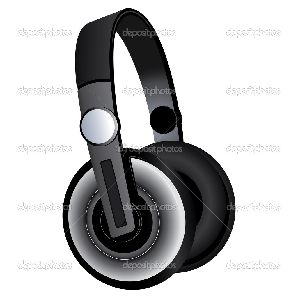 Black headphones isolated on white background — Stock Vector #4652817