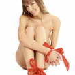 Pretty womwith red bows on her wrists and legs — Stock Photo #4660968