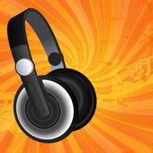 černá sluchátka na pozadí grunge — Stock vektor