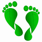 Green leaf foot prints — Stockvektor