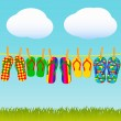 Colorful flip-flops on a rope - Stock Vector