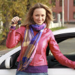 Beautiful young happy woman with car keys — Stock Photo #4776661