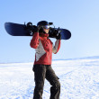 Snowboarder on the snowhill — Stock Photo