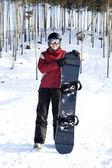 快乐女性滑雪板 — 图库照片