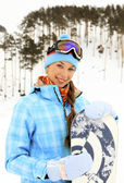 Женщина с сноуборд — Стоковое фото