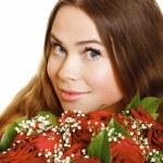 玫瑰的女人 — 图库照片
