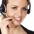 Beautiful customer service operator woman with headset — Stock Photo