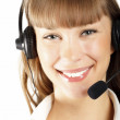 Beautiful customer service operator woman with headset — Stock Photo #5086510