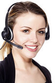 Beautiful customer service operator woman with headset — Stock Photo
