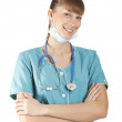 Smiling medical doctor woman with stethoscope — Stock Photo