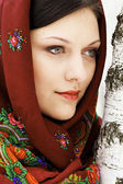 Gorgeous russian woman in shawl standing by the birch — Stock Photo