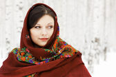 Gorgeous woman in shawl. — Stock Photo