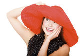 Pretty excited woman in red hat — Foto Stock